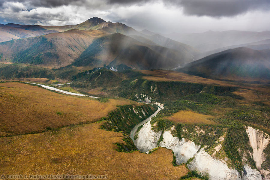 Aerial of the hammond river canyon, Gates of the Arctic National Park, Brooks Range mountains, Alaska. (Patrick J. Endres / AlaskaPhotoGraphics.com)