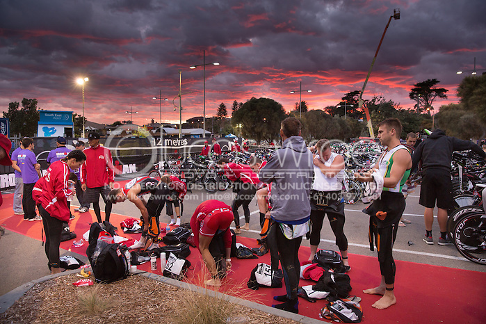 PIS Team Prepare In Transition At Dawn Prior To The Swim Start. Ironman Asia Pacific Championship Melbourne. Triathlon. Frankston And St Kilda, Melbourne, Victoria, Australia. 24/03/2013. Photo By Lucas Wroe (Lucas Wroe)