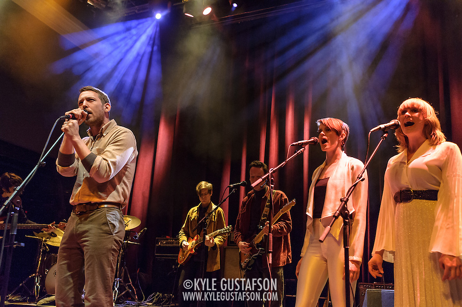 WASHINGTON, DC - January 24th, 2014 -  Fleet Foxes' Robin Pecknold (left) performs at the 9:30 Club in Washington, D.C. with members of Beach House, The Walkmen, Wye Oak, Grizzly Bear and other bands during a tribute to Gene Clark's seminal 1974 album, No Other.  (Photo by Kyle Gustafson /  For The Washington Post) (Kyle Gustafson/For The Washington Post)