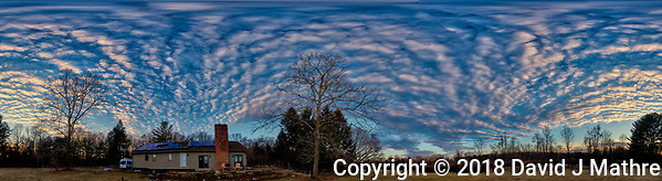 Three-hundred Sixty Degree Panorama of Late Afternoon Winter Clouds and Sky Over New Jersey. Composite of 12 portrait images taken with a Nikon D810a camera and 14-24 mm f/2.8 zoom lens (ISO 200, 14 mm, f/8, 1/100 sec). Raw images processed with Capture One Pro, Photoshop CC, and AutoGiga Pan Promo. (David J Mathre)