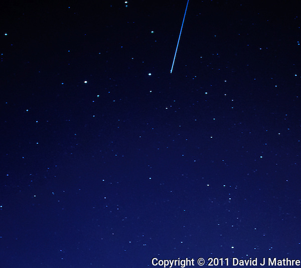 Meteor Trail captured with a Nikon 1 V1 camera and 10 mm f/2.8 lens (ISO 400, 10 mm, f/2.8, 30 sec). (David J Mathre)