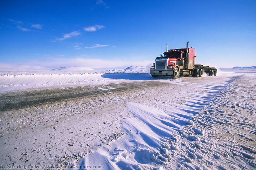 Trucking photos: Semi truck hauls supplies to prudhoe bay oil fields, James Dalton Highway, Brooks Range, Arctic, Alaska (Patrick J. Endres / AlaskaPhotoGraphics.com)