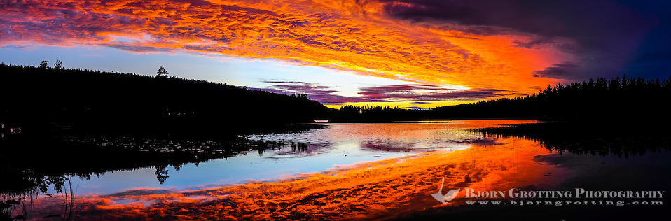 Sweden, Värmland, Sunset. Fire in the sky. Colourful sunset at a small lake in Värmland, not far from the Norwegian border. Panorama image. (Photo Bjorn Grotting)