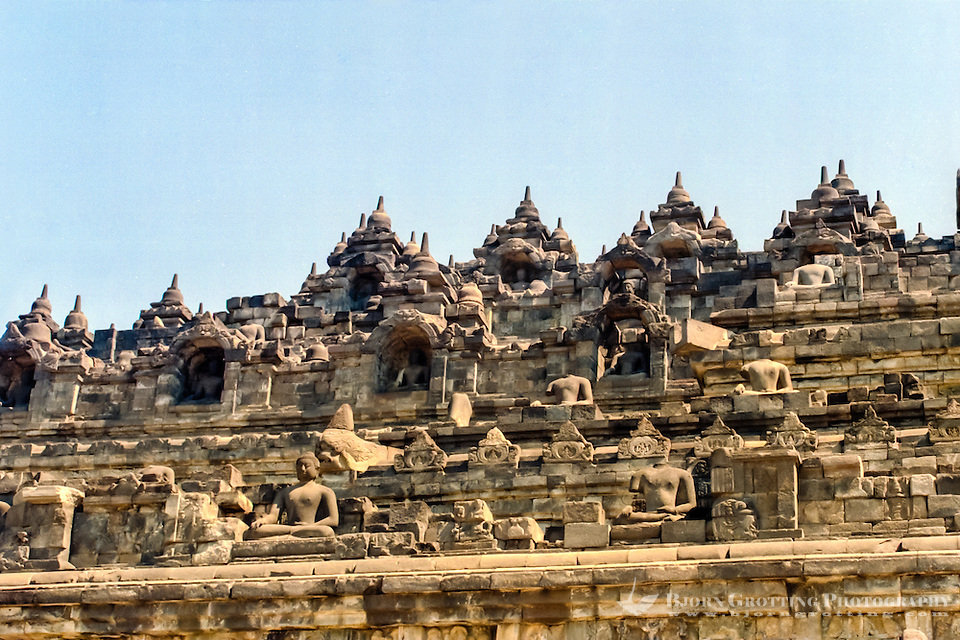 Java, Central Java, Borobodur. Borobudur has six square platforms topped by three circular platforms. (Photo Bjorn Grotting)