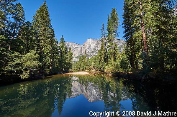 Reflections on the Merced River in Yosemite Valley. Image taken with a Nikon D3 camera and 14-24 mm f/2.8 lens (ISO 200, 14 mm, f/16, 1/80 sec). Raw image processed with Capture One Pro (Built in Style, Legacy, Landscape, Landscape Color-2). Further adjustments with the High Dynamic Range Highlight and Shadow sliders. (David J Mathre)