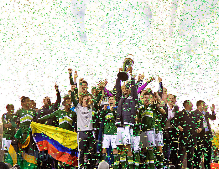Dec 6, 2015; Columbus, OH, USA; The Timbers celebrate after winning the 2015 MLS Cup at MAPFRE Stadium. Photo: Craig Mitchelldyer-Portland Timbers (Craig Mitchelldyer, Craig Mitchelldyer)