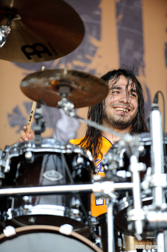 Suicide Silence performing on the Mayhem Festival at Verizon Wireless Amphitheater in St. Louis, Missouri on July 19, 2011. © Todd Owyoung. (Todd Owyoung)