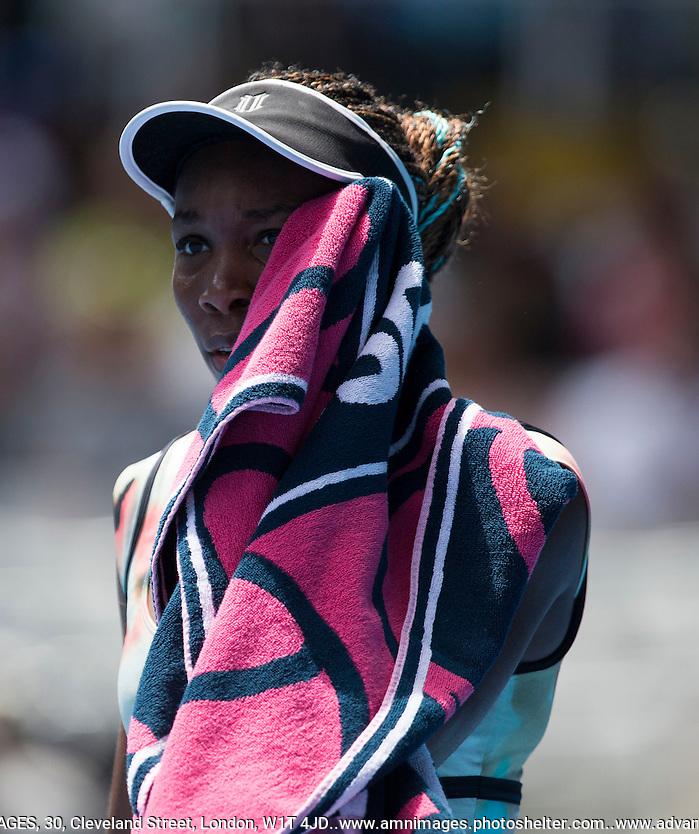 Venus Williams..Tennis - Australian Open - Grand Slam -  Melbourne Park  2013 -  Melbourne - Australia - Monday 14th January  2013. .© AMN Images, 30, Cleveland Street, London, W1T 4JD.Tel - +44 20 7907 6387.mfrey@advantagemedianet.com.www.amnimages.photoshelter.com.www.advantagemedianet.com.www.tennishead.net (FREY - AMN IMAGES)