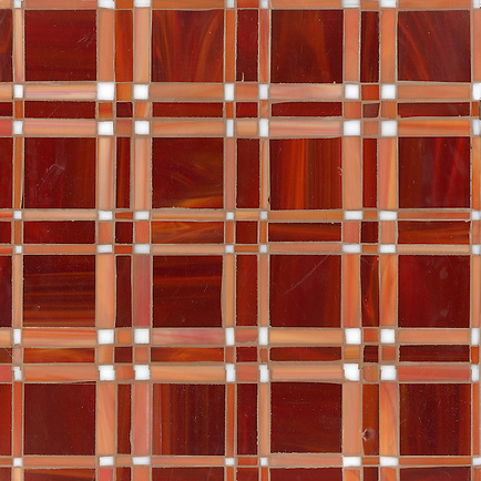 Rory, a jewel glass mosaic field shown in Ruby, Sardonyx and Moonstone, is part of the Plaids and Ginghams Collection by New Ravenna Mosaics. (New Ravenna Mosaics 2012)