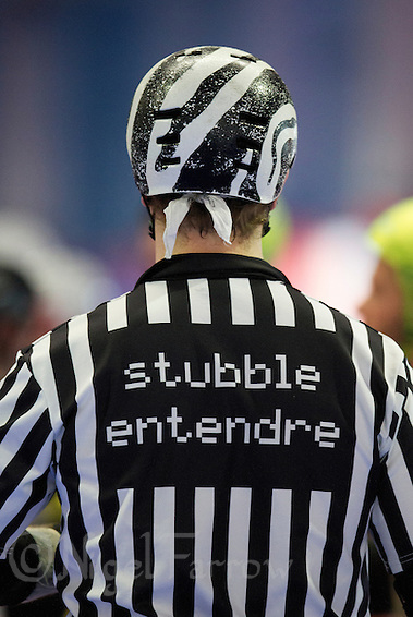 15 MAR 2014 - BIRMINGHAM, GBR - Referee Stubble Entendre waits for the start of jam during the inaugural Men's Roller Derby World Cup in the Futsal Arena in Birmingham, West Midlands, Great Britain (PHOTO COPYRIGHT © 2014 NIGEL FARROW, ALL RIGHTS RESERVED) (NIGEL FARROW/COPYRIGHT © 2014 NIGEL FARROW : www.nigelfarrow.com)