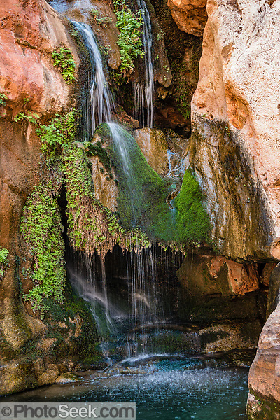 Walk to the waterfall at Elves Chasm at Colorado River Mile 117.2 (measured downstream from Lees Ferry). Day 8 of 16 days rafting 226 miles down the Colorado River in Grand Canyon National Park, Arizona, USA. (© Tom Dempsey / PhotoSeek.com)