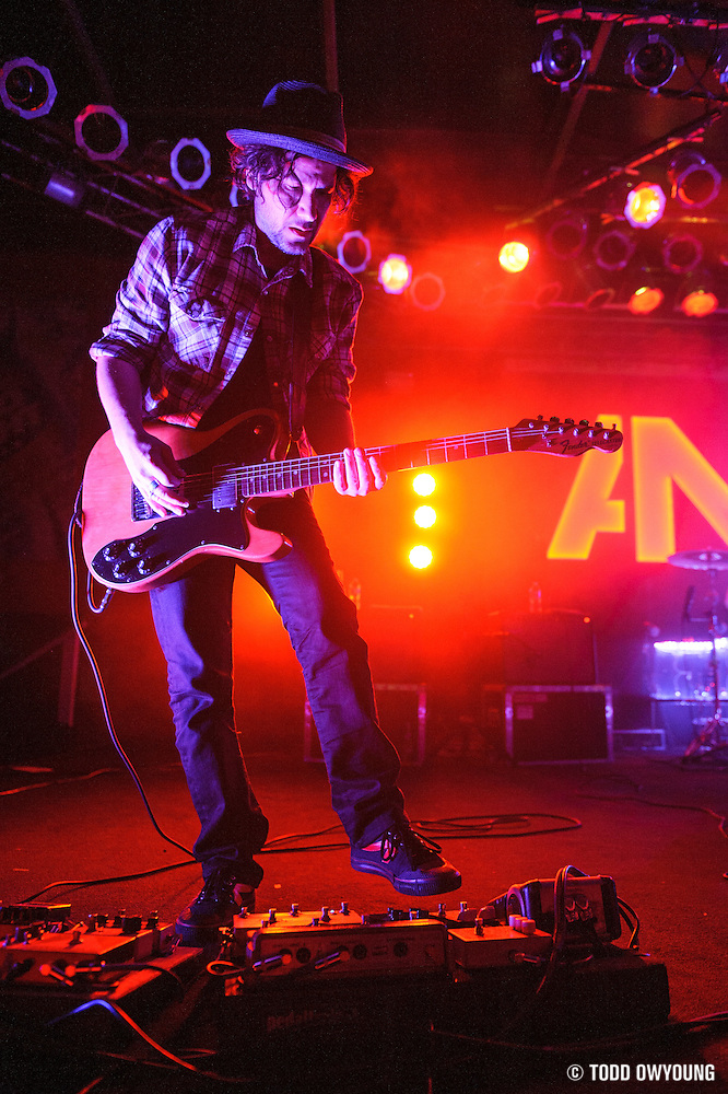 Awolnation's lead guitarist Christopher Thorn performing at Pop's in Sauget, IL on January 21, 2012. (Todd Owyoung)