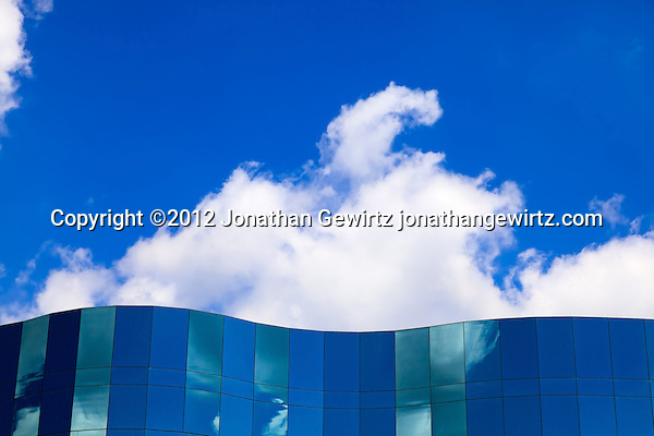 A section of the glass facade at the headquarters buildings of Human Genome Sciences in Rockville, Maryland. (© 2012 Jonathan Gewirtz / jonathan@gewirtz.net)