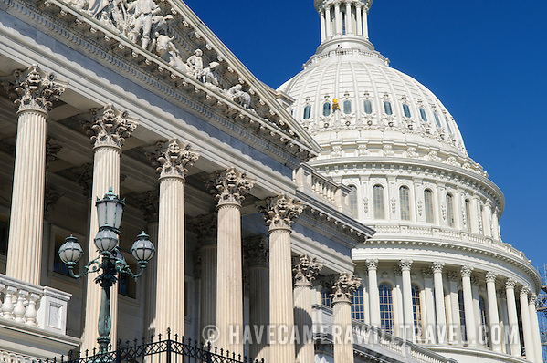 Architectural detail of the House of Representatives and US Capitol Dome j283161004 US Capitol Buildings Exterior