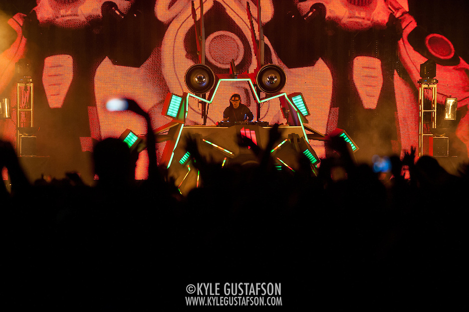 COLUMBIA, MD - October 6th, 2012 - Skrillex (Sonny John Moore) headlines the West Stage at the 2012 Virgin Mobile FreeFest in Columbia, MD. His DJ equipment was set inside a replica space ship. (Photo by Kyle Gustafson / For The Washington Post) (Kyle Gustafson/For The Washington Post)