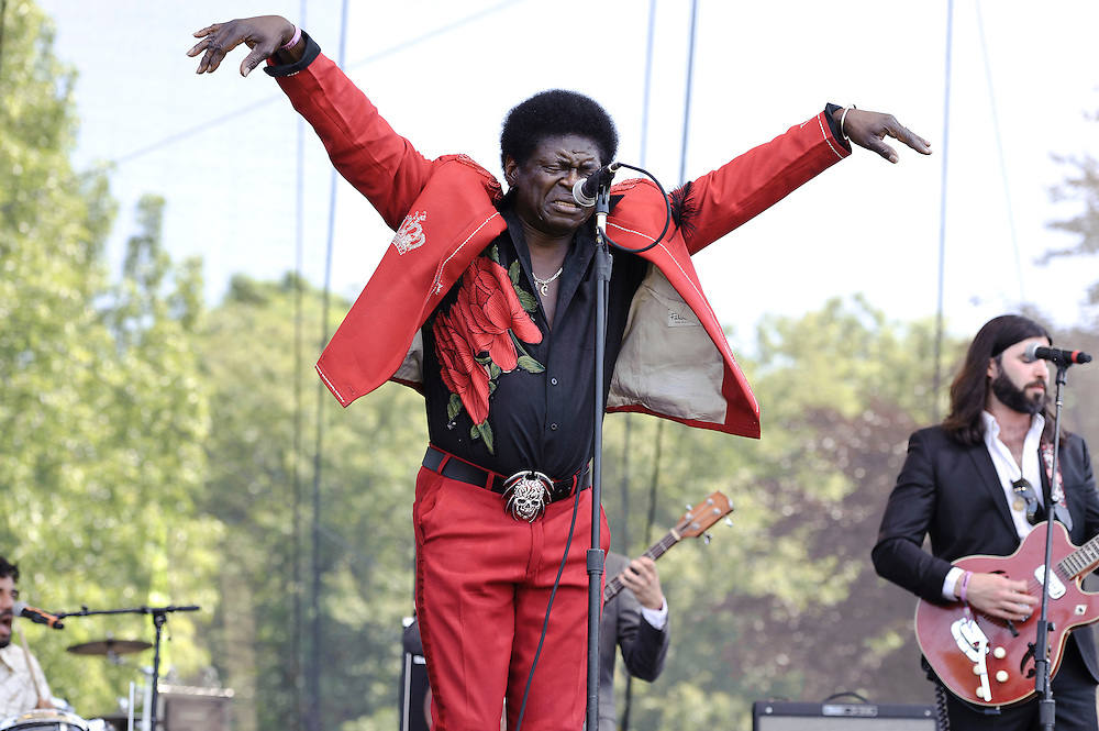 Photos of the band Charles Bradley & his Extraordinaires performing at The Great GoogaMooga festival at Prospect Park in Brooklyn, NY. May 20, 2012. Copyright © 2012 Matthew Eisman. All Rights Reserved. (Photo by Matthew Eisman/WireImage)