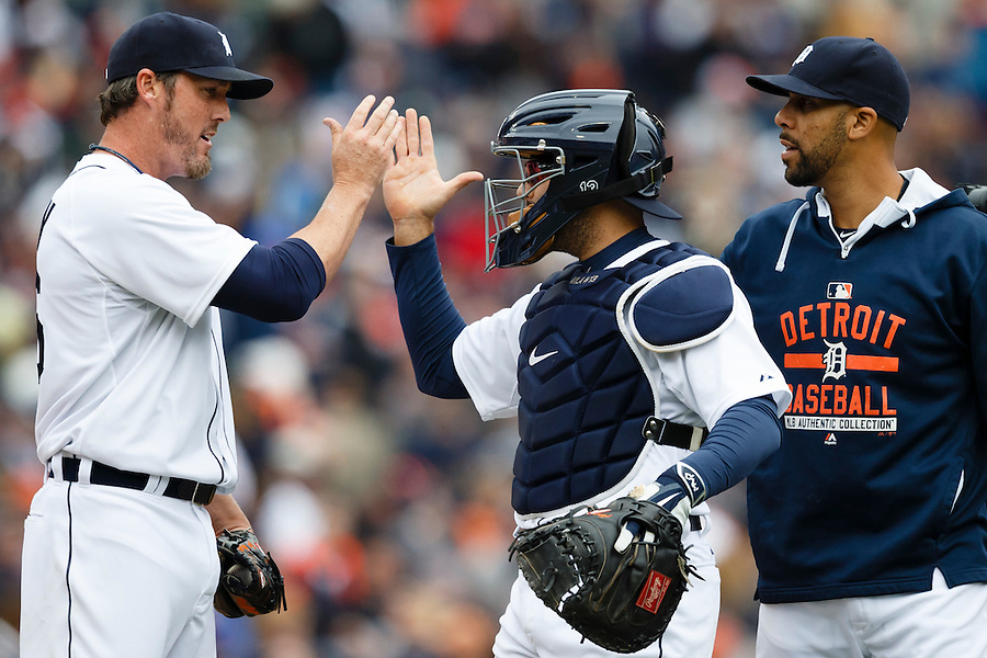 Apr 6, 2015; Detroit, MI, USA; Detroit Tigers relief pitcher Joe Nathan (left) catcher Alex Avila (center) and starting pitcher David Price (right) celebrate after the game against the Minnesota Twins at Comerica Park. Detroit won 4-0. Mandatory Credit: Rick Osentoski-USA TODAY Sports (Rick Osentoski/Rick Osentoski-USA TODAY Sports)