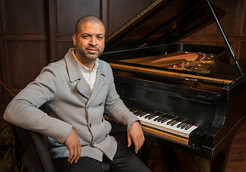 Jason Moran poses for a photograph at HSPVA, February 3, 2015. (Houston ISD/Dave Einsel)