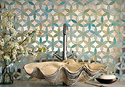 Fiona, a jewel glass waterjet mosaic shown in Aquamarine and Dawn Mirror, is part of the Silk Road Collection by Sara Baldwin for New Ravenna Mosaics. Take the next step: prices, samples and design help, http://www.newravenna.com/showrooms/ (Picasa)