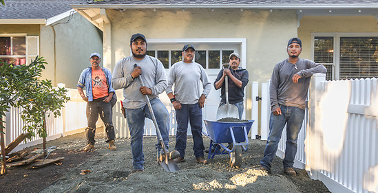 Carlos Jacinto, owner of Palmatum Landscapes, directs his crew for a residential project on Fairway Street in Calistoga (Clark James Mishler)