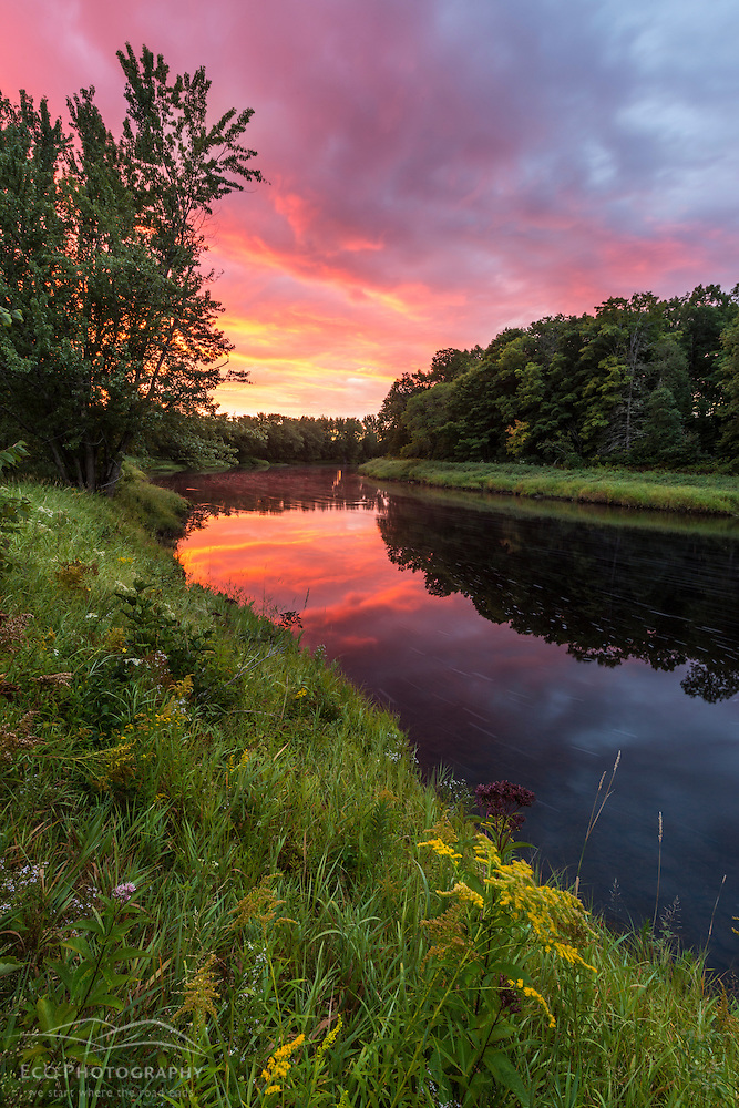 Dawn on the Mattawamkeag River as it flows through the Reed Plantation in Wytipitlock, Maine. (Jerry and Marcy Monkman)