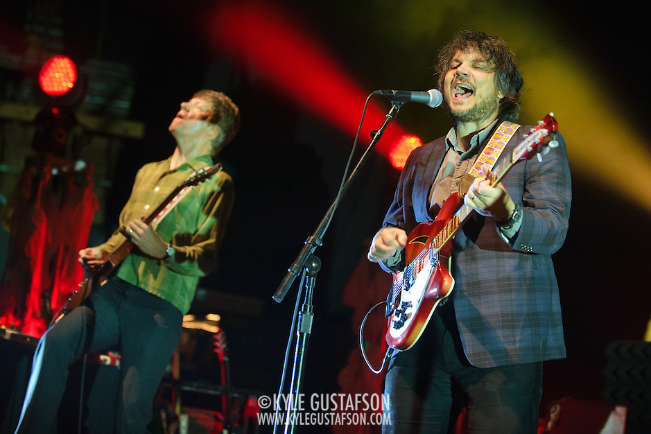 COLUMBIA, MD, -September 25th, 2011 - Nels Cline and Jeff Tweedy of Wilco performs at Merriweather Post Pavilion. Wilco will release their eight studio album, The Whole Love, on Tuesday. (Photo by Kyle Gustafson/For The Washington Post). (Kyle Gustafson/FTWP)