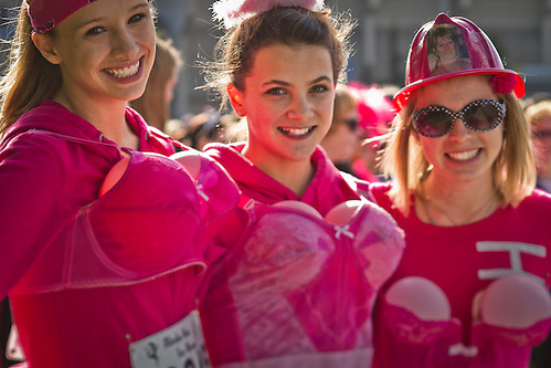 "Su Geiermann's ""Pink Firemen"" at the 2011 Alaska Run for Women, Anchorage (Clark James Mishler)"