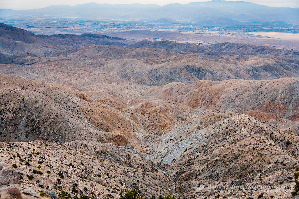 United States, California, Joshua Tree National Park. From The lookout point at Keys View one can see the Coachella Valley and Salton Sea. The San Andreas Fault is visible at the center of the plain. (Photo Bjorn Grotting)