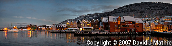 Bergan Harbor Panorama. Composite of 3 images taken with a Nikon D2xs camera and 12-24 mm f/4 lens (ISO 800, 24 mm, f/4, 1/15 sec). (David J Mathre)