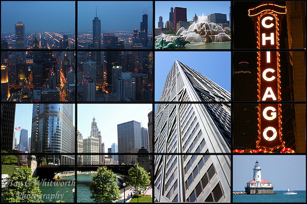 A collage of Chicago showing  views of this beautiful clean city. (Ian C Whitworth)
