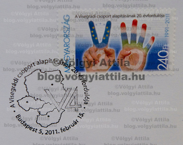 Hungarian Post introduces a stamp commemorating the  20th anniversary of the founding of the Visegrad Four group in Budapest, Hungary on February 15, 2011. ATTILA VOLGYI (ATTILA VOLGYI)