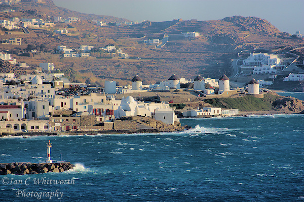 View from a cruise ship of the windmills at Mykonos in Greece (Ian C Whitworth)