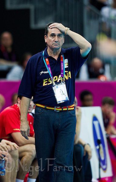 08 AUG 2012 - LONDON, GBR - Valero Rivera Lopez (ESP), the head coach of Spain, watches play during the men's London 2012 Olympic Games quarter final match against France at the Basketball Arena in the Olympic Park, in Stratford, London, Great Britain .(PHOTO (C) 2012 NIGEL FARROW) (NIGEL FARROW/(C) 2012 NIGEL FARROW)