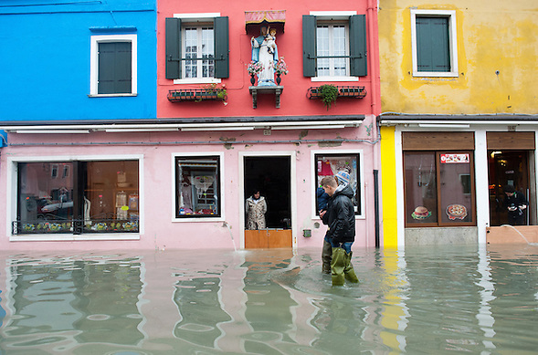 More than 59% of Venice was under water on Thursday, as the historic lagoon town was hit by exceptionally high tides. The sea level rose above 140cm overnight and was expected to remain above critical levels for about 15 hours. (Marco Secchi)