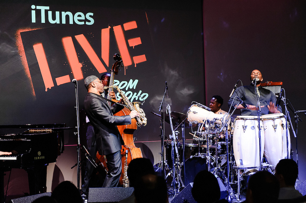 Photos of jazz saxophonist Kenny Garrett performing live at the Apple store SoHo, NYC. July 24, 2012. Copyright © 2012 Matthew Eisman. All Rights Reserved. (Photo by Matthew Eisman/ WireImage)