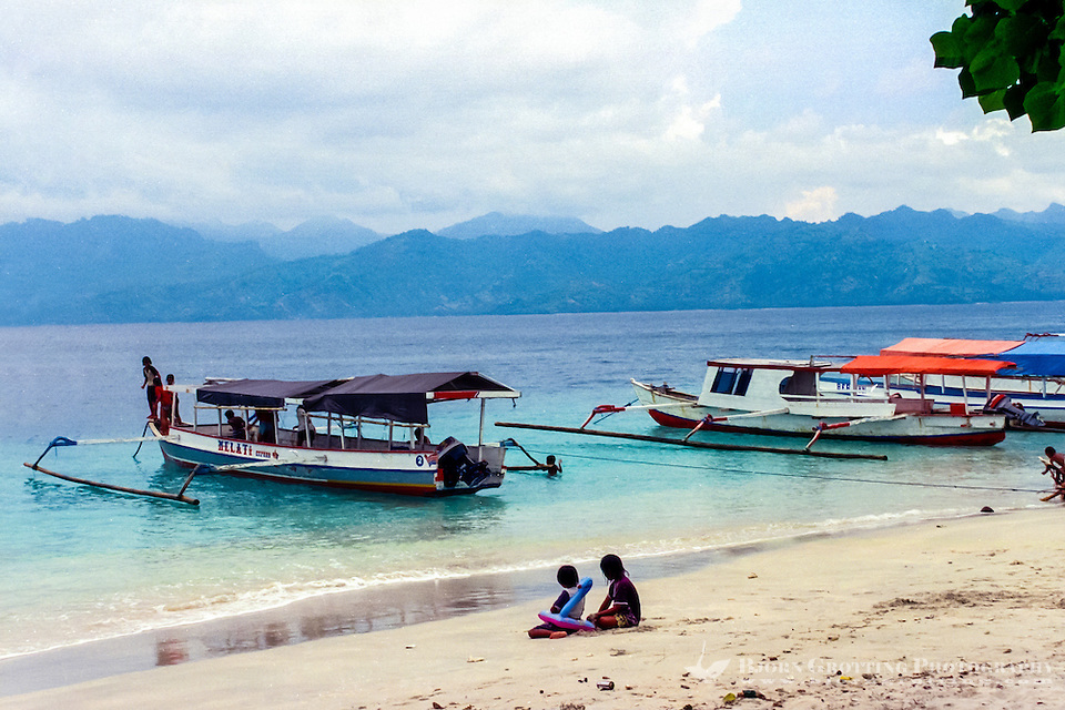 Nusa Tenggara, Lombok, Gili Trawangan. It is easy to get transport to and from the Gili islands with these local boats. (Photo Bjorn Grotting)