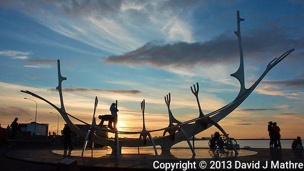 Silhouette of Sun Voyager (Sólfar) at Sunset. Image taken with a Nikon 1 V2 camera and 10 mm f/2.8 lens (ISO 160, 10 mm, f/8, 1/400 sec). (David J Mathre)