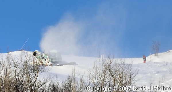 Snow Making Machine. Image taken on the train from Oslo to Bergen Norway winter of 2007. Image taken with a Nikon D2xs and 80-400 mm VR lens (ISO 100, 400 mm, f/6.3. 1/160 sec) (David J. Mathre)