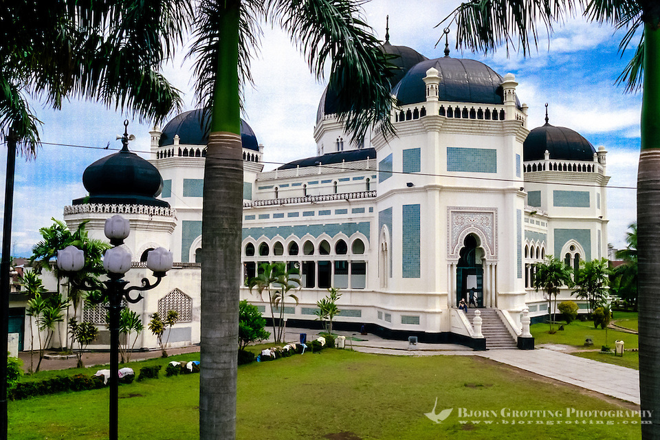 Indonesia, Sumatra. Medan. The Great Mosque (Masjid Raya) of Medan built in 1906 in Moroccan style. (Photo Bjorn Grotting)