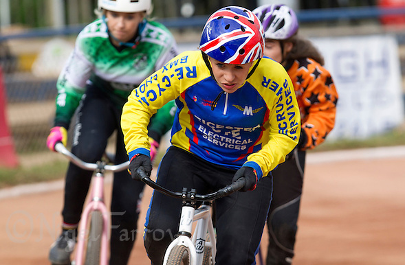 13 SEP 2014 - IPSWICH, GBR - Lucy Whitehead of Leicester Monarchs works to build up a lead during a heat at the 2014 British Women's Club Cycle Speedway Championships at Whitton Sports & Community Centre in Ipswich, Great Britain (PHOTO COPYRIGHT © 2014 NIGEL FARROW, ALL RIGHTS RESERVED) (NIGEL FARROW/COPYRIGHT © 2014 NIGEL FARROW : www.nigelfarrow.com)