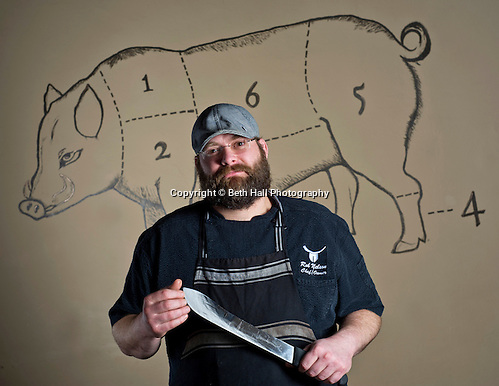 Editorial photography of chef Rob Nelson, owner of Tusk & Trotter in Bentonville, Arkansas. (Beth Hall)