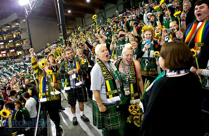 October 17, 2014; Portland, OR, USA; Timbers Army members Sunday White and Heidi Koenig get married in section 107 before the match at Providence Park. Photo: Craig Mitchelldyer-Portland Timbers (Craig Mitchelldyer)