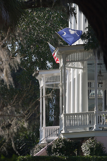 Verandas and flags catch the breeze in downtown Beaufort. ©2004 Greg Smith (©2004 Greg Smith/mediaSmith)