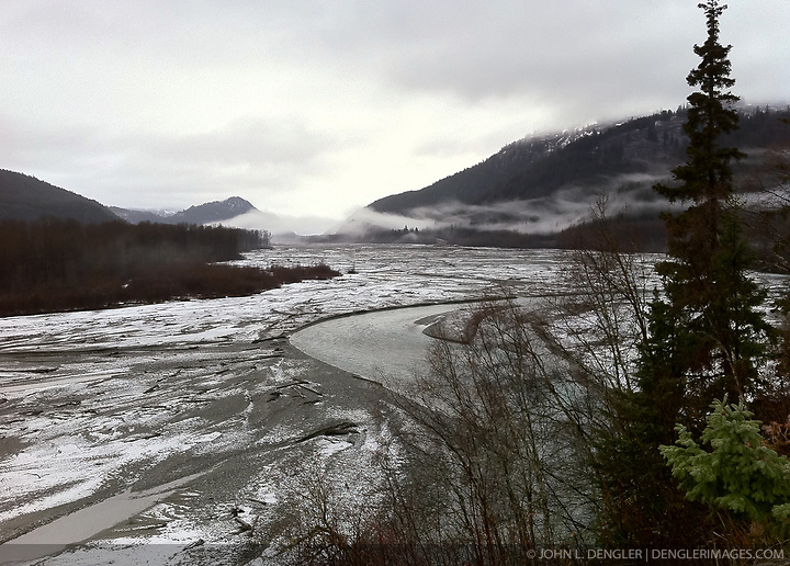 Fresh snow dusts the Klehini River gravel bar in southeast Alaska near Haines. SPECIAL NOTE: iPhone photo (John L. Dengler)