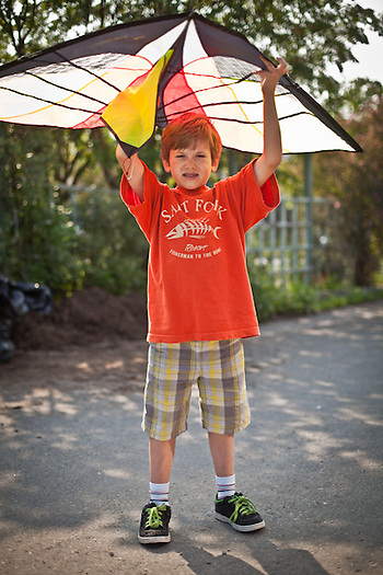 Six year old, Paul Melchert, with his kite, South Addition, Anchorage. (Clark James Mishler)