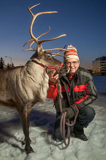 Albert Whitehead and his reindeer, Star, on the Delaney Park Strip, downtown, Anchorage (Clark James Mishler)