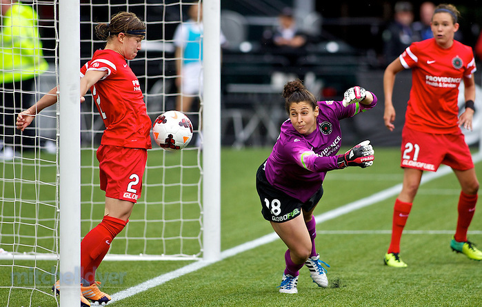 June 15, 2014; Portland, OR, USA; Portland Thorns defender Rebecca Moros (2) makes a save as goalkeeper Michelle Betos (18) dives for the ball off a corner kick late in the second half at Providence Park. Photo: Craig Mitchelldyer-Portland Thorns FC (Craig Mitchelldyer)