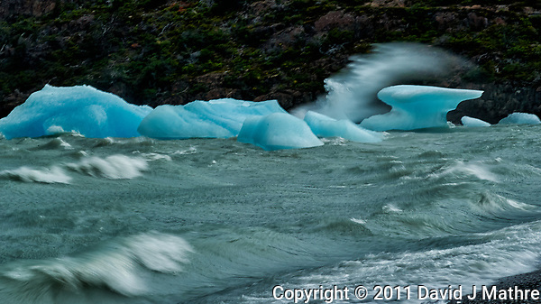 Glacial Ice on Lago Grey. Image taken with a Nikon D3s camera and 24-120 mm f/4 lens (ISO 200, 120 mm, f/4, 1/2000 sec). (David J Mathre)