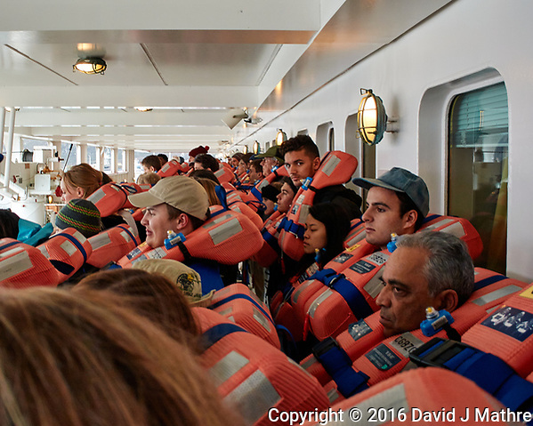 Mandatory lifeboat drill aboard the MV World Odyssey. The students, life long learners, faculty, and staff were required to repeat the drill once a month during the 102 day Spring 2016 voyage. Once the drill was completed, we were cleared to depart Encenada for Hilo, Hawaii. Image taken with a Nikon 1 V3 camera and 10-30 mm lens (ISO 200, 10 mm, f/3.5, 1/25 sec). (David J Mathre)