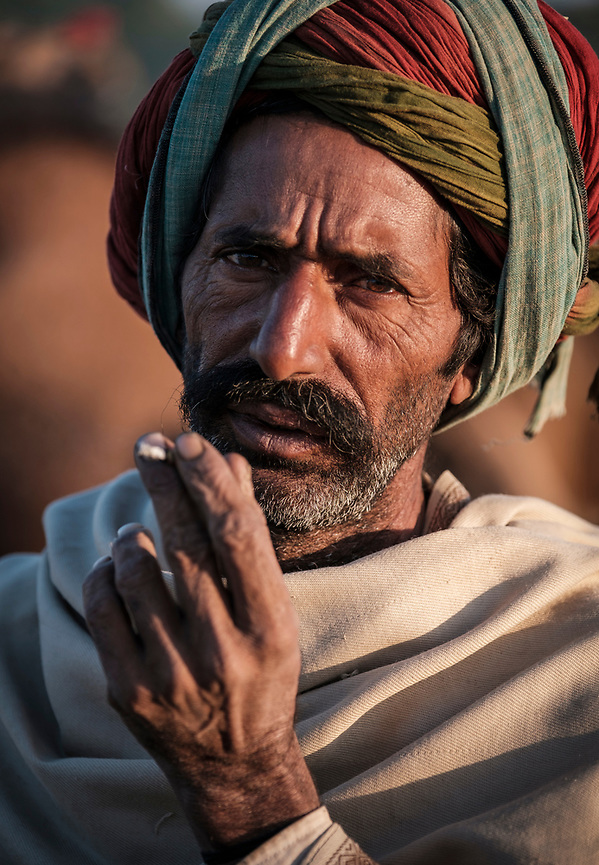 PUSHKAR, INDIA - CIRCA NOVEMBER 2016: Cameleer smoking early morning in the Pushkar Camel Fair grounds. It is one of the world's largest camel fairs. Apart from the buying and selling of livestock, it has become an important tourist attraction. (Daniel Korzeniewski)